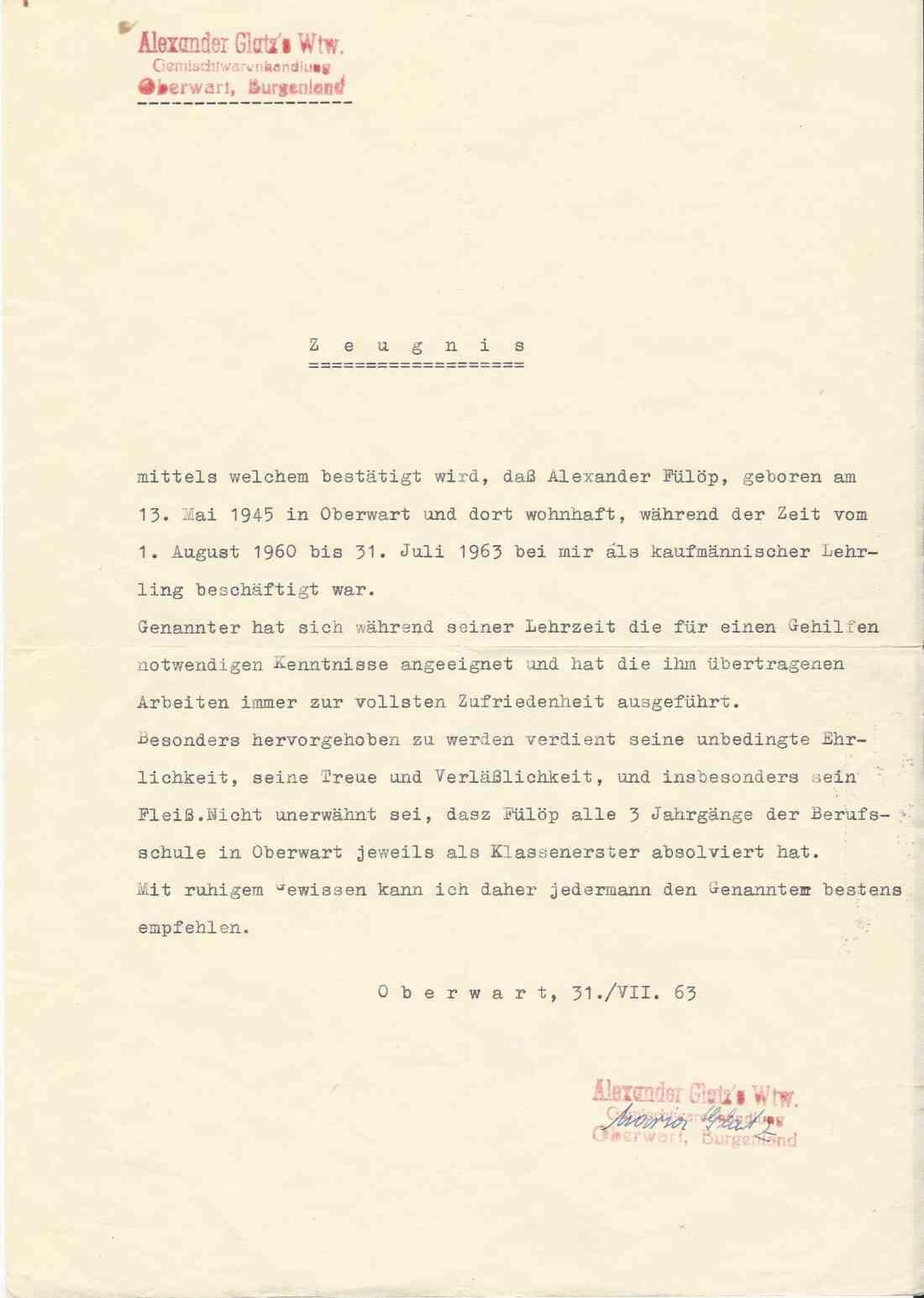 Arbeitszeugnis von Alexander Fülöp (Gemischtwarenhandlung Maria Glatz)