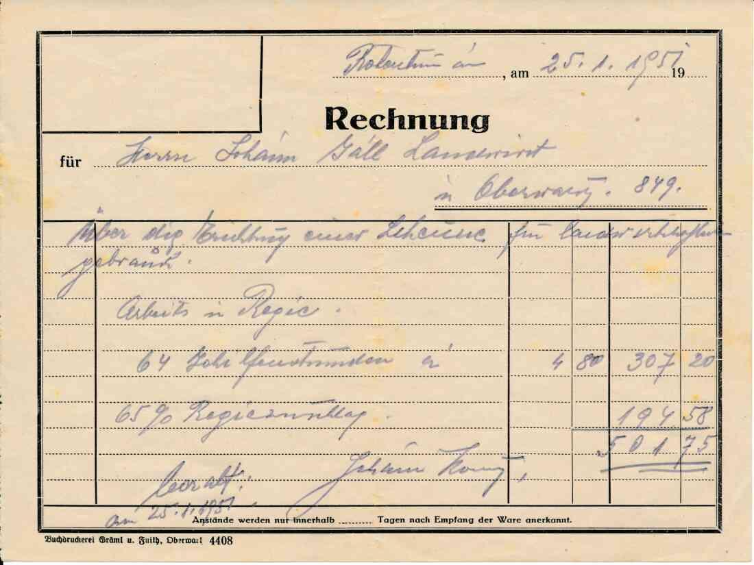 Rechnung an Johann (Janos) Gaal über die Errichtung einer noch heute bestehenden Scheune (Am Telek 92)