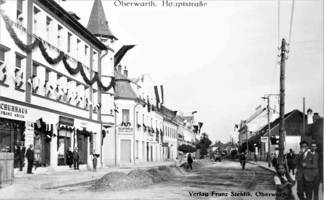 Ansichtskarte: Hauptstraße (später Wienerstraße) gegen SO