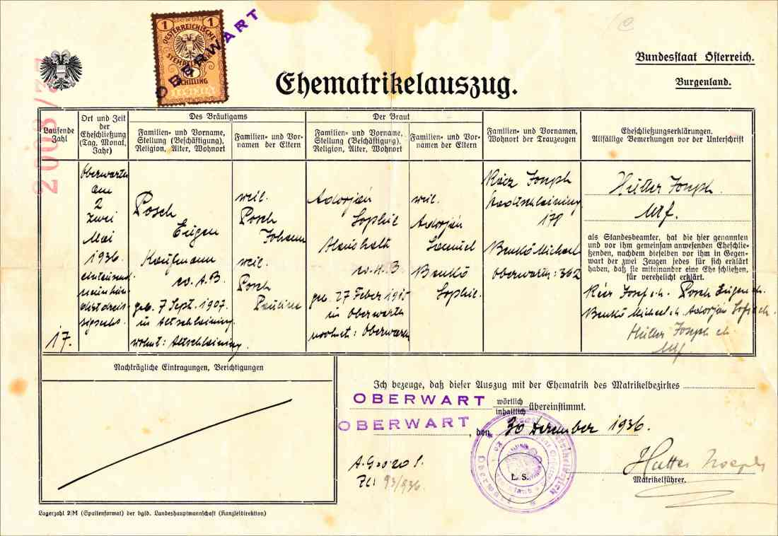 Ehematrikelauszug zur Hochzeit von Eugen Posch und Sophie Adorjan am 2. Mai 1936