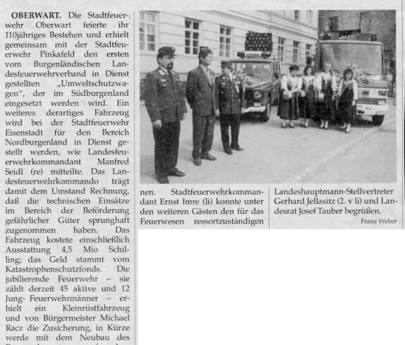 """Stadtfeuerwehr: Artikel """"110 Jahre FF Oberwart: Übergabe eines Umweltwagens"""""""