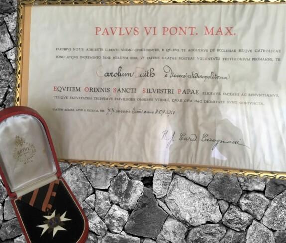Dr. Karl Fuith: Silvesterorden - verliehen von Papst Paul VI.