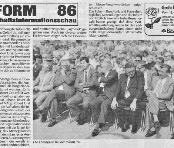 16. Inform: Ehrengäste bei der Inform 1986