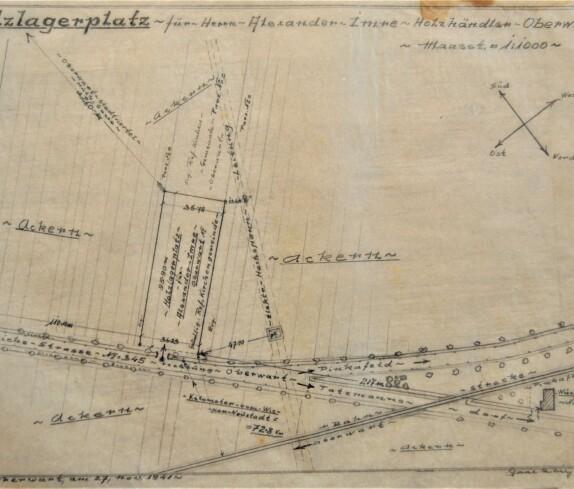 Plan zur Errichtung eines Holzlagerplatzes für Hrn. Alexander Imre von Baumeister Michael Gaál