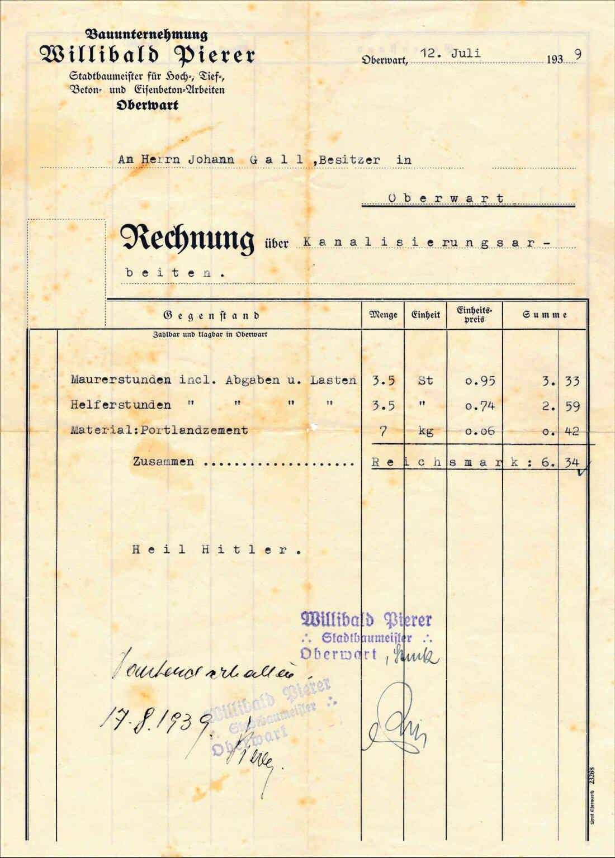 Rechnung an Herrn Johann (Janos) Gaal über Kanalisationsarbeiten (Am Telek 92)